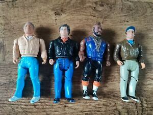 """The A Team Figure toy Full Set all 4 Mr T Hannibal Murdock Face 1983 vintage 6"""""""