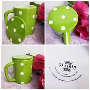 Savinio Design Coffee Mug Cup Porcelain Green Polka dot