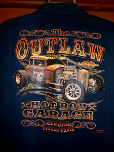 The Outlaw Hot Rod Garage Mechanic~Shop Shirt Size: Large Used/Recycled Hot Rod