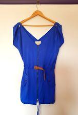 Bauhaus womens size XS blue zip up belted short mini dress