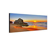 150x50cm Wandbild Leinwand Keilrahmen Panorama Sonnenuntergang Strand Sinus Art