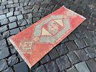 Decor rug, Organic vintage rug, %100 wool handmade, Turkish rug   1,3 x 2,9 ft