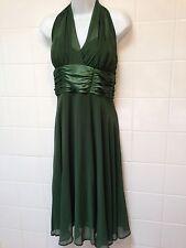 Macys Size 6 Designer Halter Marilyn Evening Prom Formal Green Gauze Satin Dress