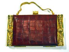 Luxury Big 1930'S Red Alligator & Golden Metal Vanity Case