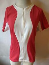 Pearl Izumi for Women L Half Zip Cycling Jersey Short Sleeve Pink White #0639