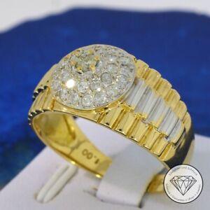 Wert 3.300,- Edler Herren 1,0 CT Brillant Kronen Ring 750  /18 Karat Gold xxyy