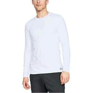 Under Armour Men's ColdGear Fitted Crew Long-Sleeve, White (100)/Steel, Size