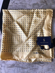 New Ralph Lauren Polo Italy Handmade Silk Yellow Blue  Polka Dot Pocket Square