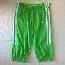 Adidas Striped Lime Green Cropped Track Pants Men's Large