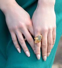 Ottoman Gems semi precious gem stone ring gold plated Labradorite statement