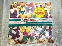 VTG Wrapping Paper Gift Wrap Bears Single Sheet + Butterflies NWT 2 Sheets 80's
