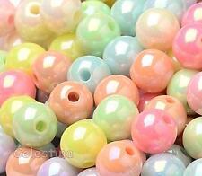 100 Acrylique Couleurs Mélangées AB Perles-Pastel Perles Rondes - 8 mm x 7 mm