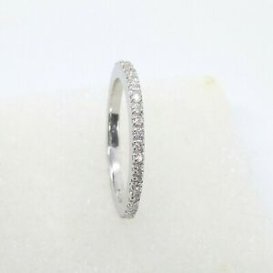0.20 Ct Round Micro Pave Eternity Diamond Ring Wedding Band 14K White Gold Over