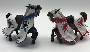 Papo 2006 Medieval Action Figure Masked King Knight Horses Dragon Blue and Red