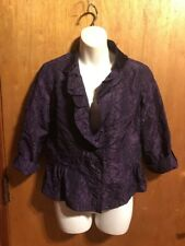 NWT Chicos Crop 3/4 Jacket Crinkle Sheen Wild Grape Size 0 - Perfect Purple