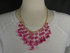 Pink Gold tone chain link bib collar dangle statement necklace 18 - 19.5 long