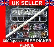 6000 Pc X 2 Mm De Diamantes Gemas Para Uñas Decoración libre Recolector herramienta Lápiz