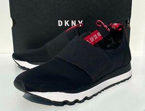 DKNY Womens Slip On Trainers Sneakers Shoes Joggers Slip On Black White BNIB