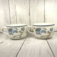 MADE IN ENGLAND  Coffee Cup Mug Floral Blue Petals Flower Gray Leaves