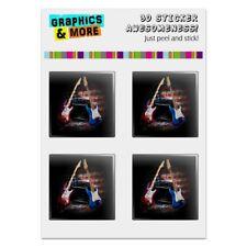 Electric Guitars American USA Flag Rock Computer Case Modding Badge Stickers Set