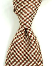 $250 NWT TOM FORD Brown & White Houndstooth Check Silk Neck Tie Italy