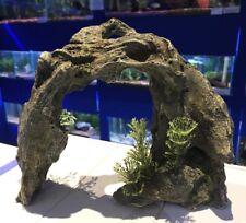 Grey Rocky Effect Arch with Plant Aquarium Ornament Fish Tank 326