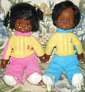 """Vintage IDEAL 1985 Jim & Dandy 12"""" African American Twin Toddler Dolls Rare Toy"""