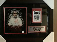"Millie Bobbie Brown signed 8x10 ""Stranger Things"" with subject badge with JSA"
