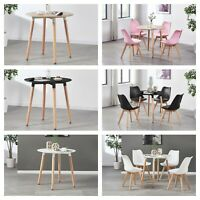 Jamie Dining Set - 4 x Jamie Tulip Dining Chairs &  Halo Round Wood Dining Table