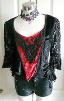 GOTH black Red  velvet long sleeved top lace detail & sleeves by dark star s/m