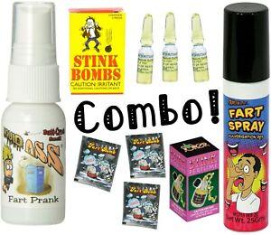 1 Liquid Ass + 1 Fart Spray Can + 3 Stink Vials + 3 Fart Bombs + 1 Stink Perfume