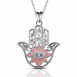Evil Eye Sterling Silver Hamsa Hand Of Fatima Khamsa Pendant Necklace Pink 18