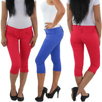Damen 3/4 Capri Jeans Stretch Kurze Hose Shorts Bemuda Hüfthose Sommer Blau Rot