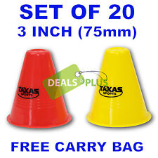 3 INCH TRAINING CONES (set of 20)  WITCHES HAT FOOTBALL SOCCER RUGBY TRAFFIC