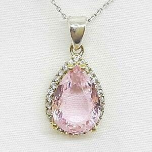 Deco 6.70ctw Pink Tourmaline & Diamond Cut Sapphire 14K Yellow Gold 925 Pendant