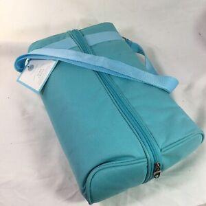 Martha Stewart Wine Caddy Teal Blue Picnic Shoulder Strap Tote Bag  NWT