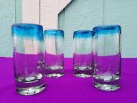 Hand Blown Shot Glasses Aqua Rim Set of 4   *** $2.99 Flat Rate Shipping ***