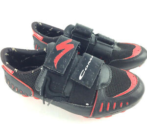 Specialized Mens US 7.5 Black Red Mountain Bike Cycling Cleats, Clips Included