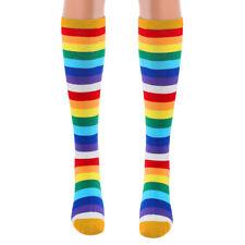 2 Pairs Women Colorful Rainbow Stripe Calf Socks Stretchy Knee High Stockings