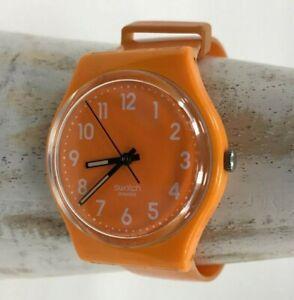 Swatch Swiss Watch Unisex Orange 2 Piece Strap Numbered Analogue Dial 481534