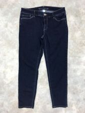 33d0da6933f7bf White House Black Market Women's Blue Cotton Blend Dark Wash Capri Jeans ...