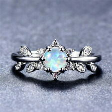 Fashion Silver Round Cut White Artificial Opal Leaf Ring Couple's Day gift Size8