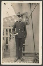 Postcard HMS Victorious portrait of Bugler Smith early Royal Navy shipping RP