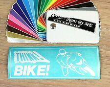 THINK BIKE! Car Safety Sticker Vinyl Decal Adhesive Window Bumper Tailgate WHITE
