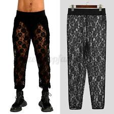 Mens Sheer Mesh Loose See Through Long Pants Casual Yoga Gym Breathable Trousers