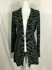 Charter Club Womens Gray Black Tiger Stripped Knit Jacket Size M Buckle Closure