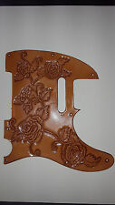 "Leather pick guard Fender Telecaster hand tooled leather ""Harmony of Roses"" Nat"