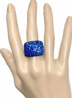 Iridescent AB Blue Rhinestones Statement Bold Stretchable Adjustable Ring