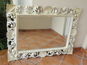 ULTRA GLAM 40s GROSFELD HOUSE SCROLLED CARTOUCHE SCULPTURED MIRROR * MADE ITALY
