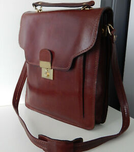 Vintage Messenger Leather Tan Shoulder Bag Breif Case Original 1970s Unisex